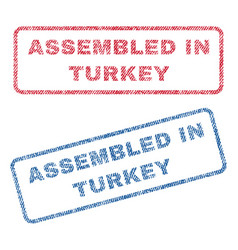 assembled in turkey textile stamps vector image vector image
