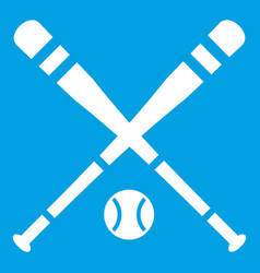 Baseball bat and ball icon white vector