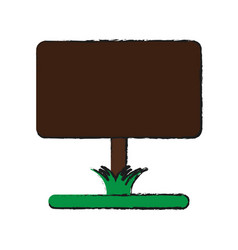 Blank sign on lawn icon image vector
