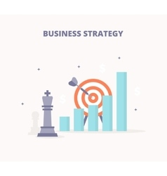 Business strategy chess king target bar chart vector