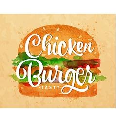 Chiken burger kraft vector