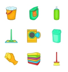 Cleaning icons set cartoon style vector