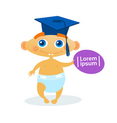 Cute baby boy weating graduation cap toddler happy vector