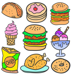 Doodle of food style various set vector