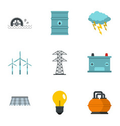 energy sources icon set flat style vector image vector image