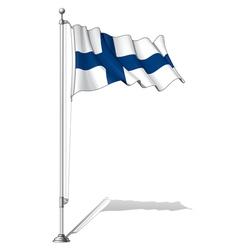 Flag Pole Finland vector image vector image