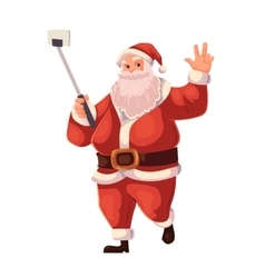 Full length portrait of santa making selfie vector