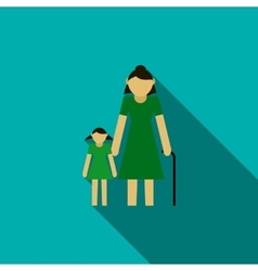 Grandmother with granddaughter icon flat style vector image