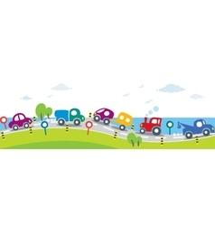 Horizontal seamless background of Cars on the road vector image