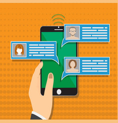 Mobile phone chat message notifications vector