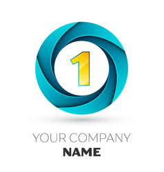 Number one logo symbol in colorful circle vector