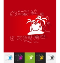 palm paper sticker with hand drawn elements vector image