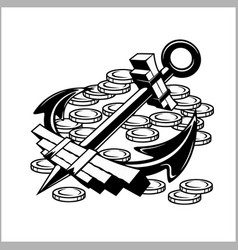 Pirate emblem - anchor and coins vector