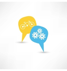 repair a bicycle in a bubble speech vector image vector image