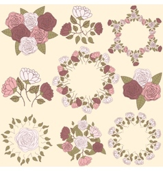 Retro floral wreath and flower bouquet collection vector image