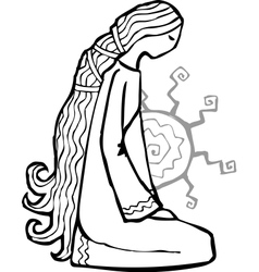 Sad ethnic style girl with sun at her back vector