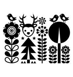 Scandinavian folk art pattern - finnish inspired vector