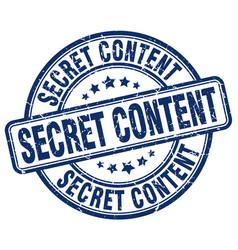 Secret content blue grunge stamp vector