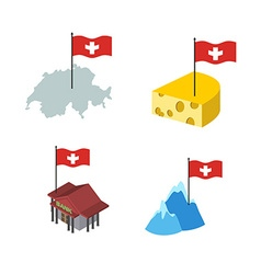 Set icons switzerland map and cheese bank and alps vector