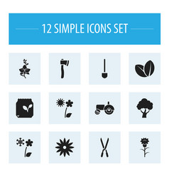 Set of 12 editable agriculture icons includes vector