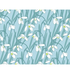 Snowdrops spring seamless background Hand-drawn vector image vector image