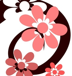 Spiral with pink flowers vector image vector image