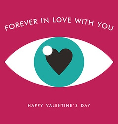 St Valentines day greeting card in flat style Eye vector image vector image