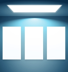 three presentation fram with lights vector image vector image