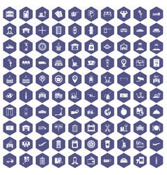 100 loader icons hexagon purple vector