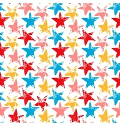 Colorful worn out grunge stars prints seamless vector