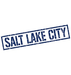 Salt lake city blue square stamp vector