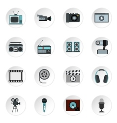 Audio and video icons set flat style vector