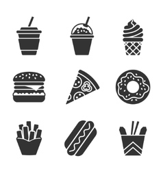 Fast food silhouette icon set vector