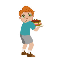 Greedy boy not sharing cake part of bad kids vector