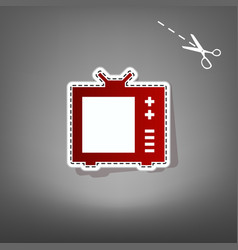 tv sign   red icon with for vector image