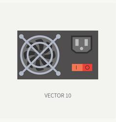 Plain flat color computer part icon power vector