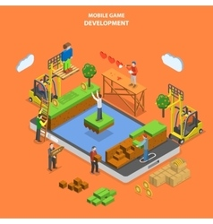 Mobile game development flat isometric vector