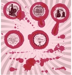 Grungy imprints with splashes of wine glasses vector