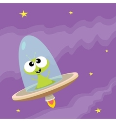 ufo alien  flying saucer vector image