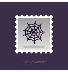 Spider web halloween stamp vector