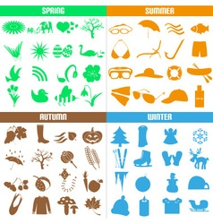 Four seasons of the year big set of icons eps10 vector