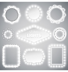 White christmas lights frames vector