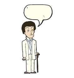 Cartoon unhappy gentleman with speech bubble vector