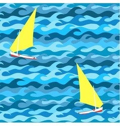 Seamless pattern made of waves and yachts vector