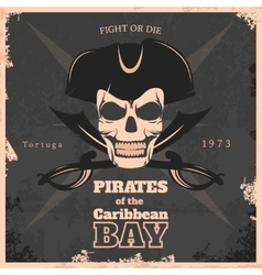 Pirates of carribbean bay vintage poster vector