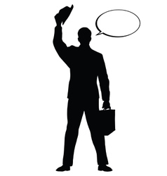Hello businessman hat gesture black silhouette vector