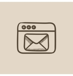 Browser window with electronic mail sketch icon vector