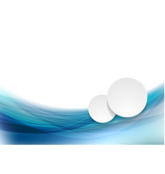 Abstract blue waves pattern and white circles vector