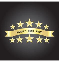 background with gold ribbon and stars vector image
