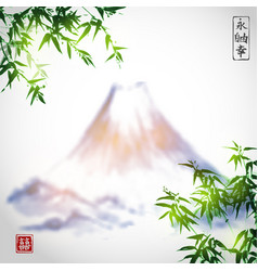 Bamboo trees and mountains vector